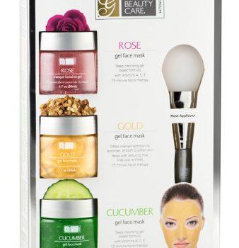 Máscara Facial de Gel Wash-Off de Rosas, Oro y Pepino con aplicador